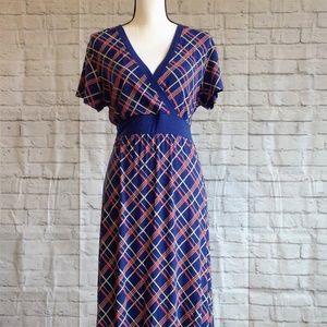 L.L Bean Surplice Orange and Blue Dress Size Large